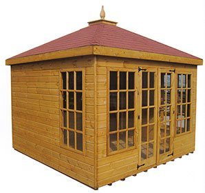 wooden summer house with glazed front and red tiled roof