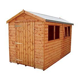 Apex shed with single door.
