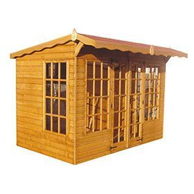 pent style summer house with glazed double doors and wooden canopy over front