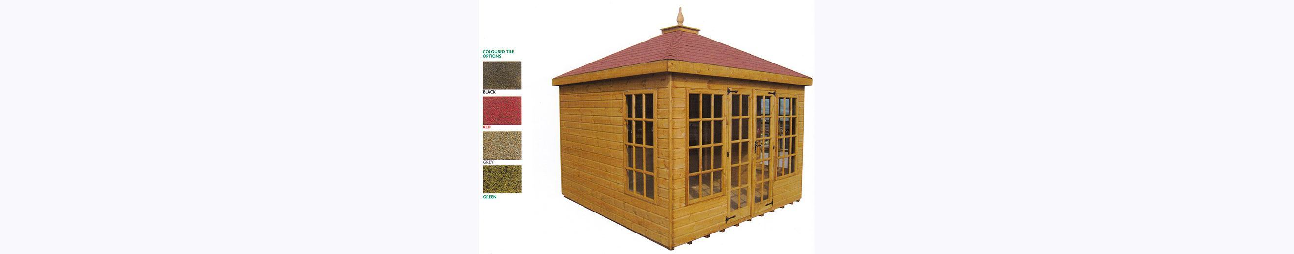 Large wooden summer house with glazed front and double doors