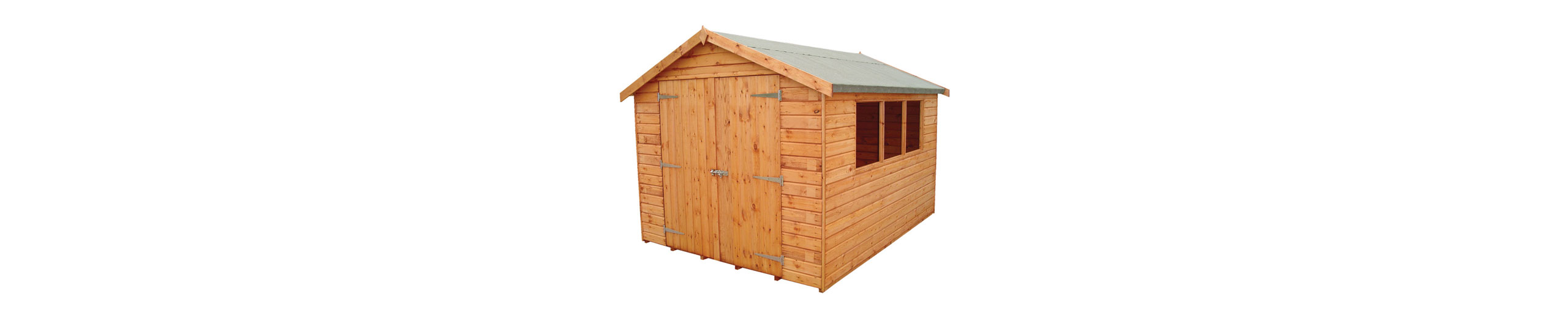 Large wooden garden shed with double doors